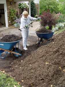Worthy wives eagerly volunteer to do all the mulching in May.