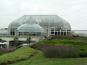 The front entry to Phipps Conservatory.