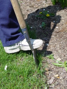 No jumping on the edging tool.