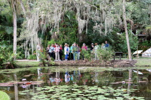 Part of our group enjoying the live oaks and tropical pond at Florida's McKee Gardens.