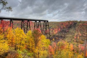 The Kinzua Bridge Skywalk in fall.
