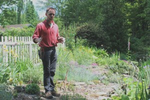 Charles Cresson in one of his garden rooms.