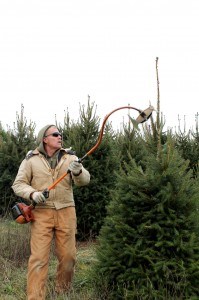 Rod Wert uses what looks like a weed whacker with blades on the end to prune his Christmas trees.