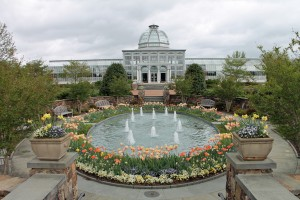 The water garden and plaza leading to Ginter Botanical Garden's Conservatory.