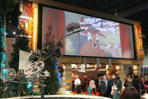 Film clips were shown on a 36-foot screen behind the marquee.