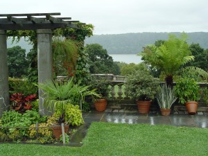 The vine-covered pergola and pots overlooking the Hudson -- my favorite nook of Wave Hill.