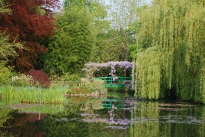 This is the famous Japanese bridge and water garden at Monet's Giverny gardens.