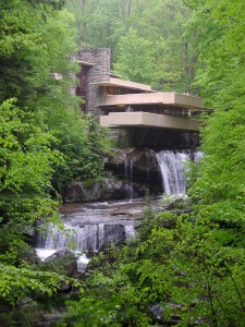 Frank Lloyd Wright designed Fallingwater to be built directly over the top of a waterfalls on Bear Run.