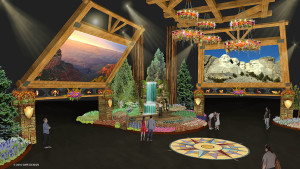This rendering shows what the inside of the main entry to the 2016 Philadelphia Flower Show will look like.