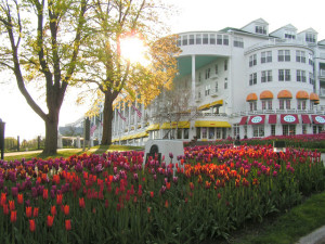 The gardens at the Grand Hotel on Mackinac Island.