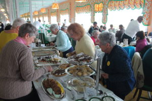 Digging into the buffet at Mackinac's Grant Hotel.