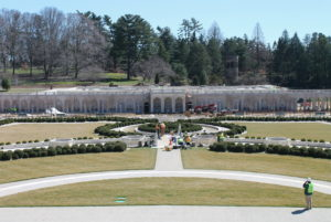 Longwood's Main Fountain Garden is back into place and looking like this as it heads down the home stretch to the May 27 reopening.