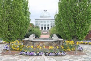 Entry to Ginter in April with conservatory as backdrop.