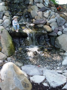 Sherry Shumaker's pondless water feature. The water seems to disappear into the stone bed.