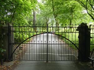 The entry to England's hidden-gem Holehird Gardens.