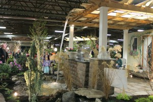 The Greenskeeper's waterfall dropping off a pergola grabbed a lot of eyes at Pa. Garden Expo 2014.