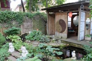 A Garden Walk Buffalo home garden with a Japanese flavor.