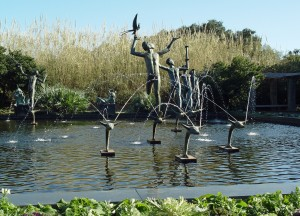 Statues of muses on a pond at Brookgreen Gardens.