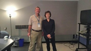 George with Radio Times host Mary Cummings-Jordan in the WHYY studio.