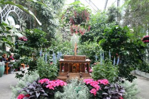 U.S. Botanic Gardens' lobby, decorated for Christmas.