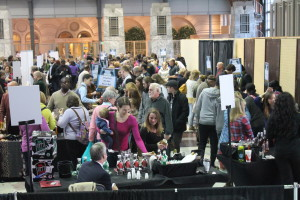 The free wine-tasting area has become one of the show's most crowded features.