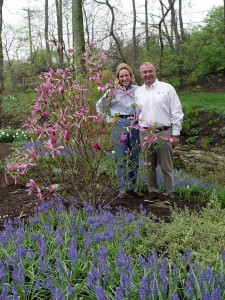 David and Jacy in their springtime garden.