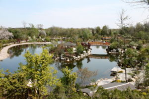 The huge, impressive Japanese garden at Meijer Gardens.