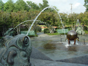 Water-spouting frog fountains at Dallas Arboretum.