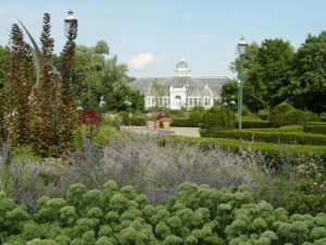 The outdoor gardens behind the Franklin Park Conservatory.