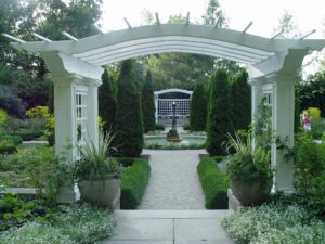Archways in the formal gardens at Indianapolis Museum of Art.