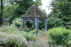 A gazebo focal point in Inniswood's herb garden.